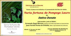 """Presentación de """"Varia fortuna de Pompeyo Lauro"""" @ Estudio en Escarlata"""
